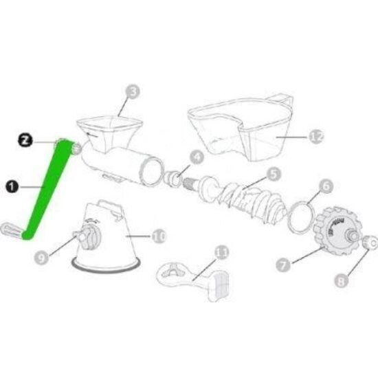 Hajtókar és rögzítőgomb lexen kézi búzafűpréshez (1)(2) - EZÜST-FEKETE